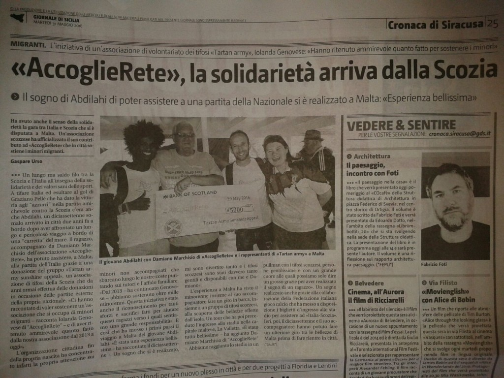 Italian Newspaper Article