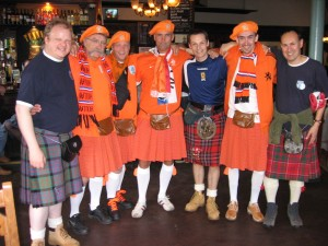 Fraternising prior to the home game against the Dutch in 2009.